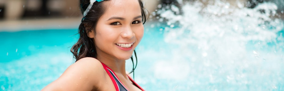Woman in swimwear - premier pools and spas San Diego